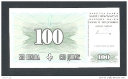 BOSNIA,  100 Dinara 15-8-1994 UNC  (P-44) , BANKNOTE THAT´S VERY RARE IN UNC ! - Bosnia And Herzegovina