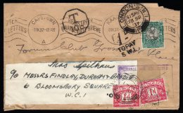 Cover From Cape Town To England With 2 Postage Due/Tax Stamps And T Cancel. - Africa (Other)