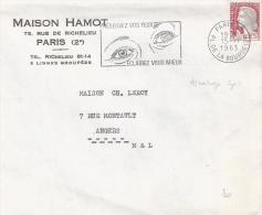 0,25f. Marianne De Decaris  Décalage Du Gris ( Bande Blanche Sur La Tete) Sur Lettre - 1961-....