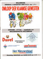 """Wielrennen Willebroek Programmaboek """"Omloop Der Vlaamse Gewesten 2003"""" - Libros, Revistas, Cómics"""