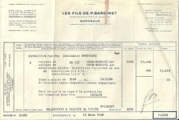 BORDEAUX  LES FILS DE P. BARDINET  Livraison De RHUM Negrita  16.03.1950 - Alimentaire
