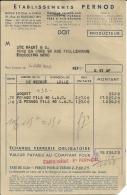 PARIS  ETABLISSEMENTS  PERNOD  Producteur  15.06.1949 - Alimentaire