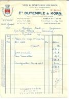 MARAIS DE LOMME  Ets DUTEMPLE & KORN  Vins & Spiritueux En Gros       9.07.1949 - Alimentaire