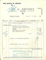 ETAULIERS  A. BECHET  Vins Blancs De Gironde      22.03.1950 - Alimentaire
