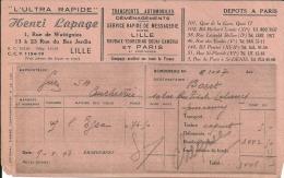 LILLE PARIS  L ULTRA RAPIDE  HENRI LAPAGE  Transports Automobiles Demenagements ...9.01.1948 - Alimentaire