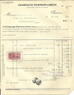 REIMS  Champagne POMMERY & GRENO       22.03.1948 - Alimentaire