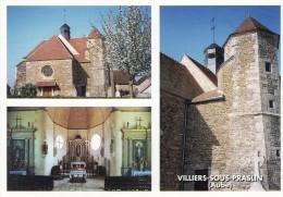 VILLIERS SOUS PRASLIN - BELLE CARTE SEMI-MODERNE - MULTI-VUES DE L'EGLISE DU VILLAGE -  TOP !!! - Autres Communes