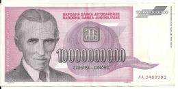 YOUGOSLAVIE 10 MILLIARD DINARA 1993 VF P 127 - Yugoslavia