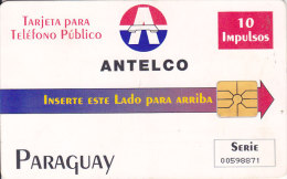"Paraguay, PAR-A-07, 10 Units, Third Chip Issue, Antelco Logo, ""Paraguay"", 2 Scans."