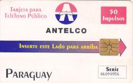 "Paraguay, PAR-A-09, 50 Units, Third Chip Issue, Antelco Logo, ""Paraguay"", 2 Scans."