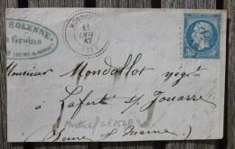 Devant Marque Postale Mortcerf GC 2548 Sur N°22 - Marcophilie (Lettres)