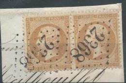 Lot N°22676 Variété/Paire Du N°21/fragment, Oblit GC 2368 MIREBEAU-S-BEZE(20), Ind 4, Filet OUEST Pratiquement Absent 1é - 1862 Napoleone III