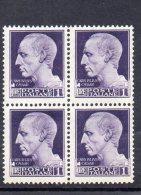 1929 LUOGOTENENZA 1 LIRA IMPERIALE CON FASCI IN QUARTINA NUOVI MNH** - 1900-44 Victor Emmanuel III.