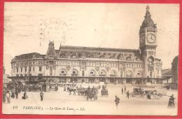 CARTOLINA VIAGGIATA FRANCIA - PARIS - La Gare De Lyon - ANNULLO PARIGI Bd Des ITALIENS 08- 10 - 1915 - Metropolitana, Stazioni