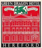 ENGLAND HEREFORD GREEN DRAGON HOTEL VINTAGE LUGGAGE LABEL - Hotel Labels