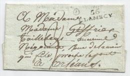 - Lettre - NIEVRE - 56/CLAMECY Noir - Port Dû Taxée - 1807 - 1801-1848: Precursores XIX
