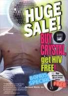 Crystal Meth & AIDS HIV Postcard Gay Man In Underwear Legs Spread Bare Chest - 14122 - Health