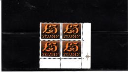 GRAN BRETAGNA 1970-73  - Unificato  83* * (quartina) - Postage Due - Tasse