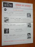 Disques RGM Extraits Du Catalogue AVRIL 1958 N° 1 / Et. Gilbert Montels Paris ( Plier / Voir Photo Pour Detail ) ! - Programme