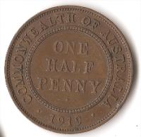 AUSTRALIE  1/2  PENNY   1919 - Monnaie Pré-décimale (1910-1965)