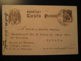 SANT FELIU DE GUIXOLS 1941 To Girona Gerona CERVANTES Postal Stationery Card Catalonia Spain España - 1931-Today: 2nd Rep - ... Juan Carlos I