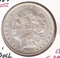AMERIKA USA 1 DOLLAR 1884O MORGAN ZILVER ALMOST UNC. - Monnaies