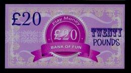 "Play/school Money ""UK Bank Of Fun"" Billet Scolaire, 20 Pds., Training, 155 X 85 Mm, RRR, UNC, Token, Uniface - Groot-Brittannië"