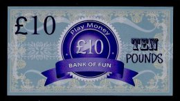 "Play/school Money ""UK Bank Of Fun"" Billet Scolaire, 10 Pds., Training, 155 X 85 Mm, RRR, UNC, Token, Uniface - Groot-Brittannië"