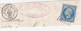 FRAGMENT AFFRANCHI N°22 -OBLITERATION GROS CHIFFRES 42 - AIX LES BAINS