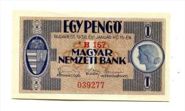 "Hongrie Hungary Ungarn 1 Pengo 1938 UNC """" * """" STAR Variant - Hongrie"