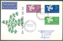 CYPRUS - FDC - 19.03-1962 - EUROPA - Mi 197-199 - Lot 8462 - Storia Postale