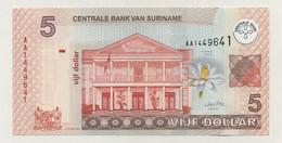 Suriname - 5 Dollars (157b_UNC) - Suriname