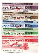 "Grande-Bretagne Great Britain SET Pounds """"CHEQUE De VOYAGE "" TRAVELLERS CHEQUE """" SPECIMEN Lloyds Bank Limited - Groot-Brittanië"