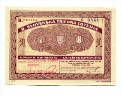 Slovaquie Slovakia - Lottery Ticket 1943 AUNC - Slovaquie
