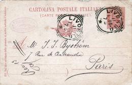 """ITALIEN 1896, - Ganzsache Auf Pk, Stempel """"LIVORNO"""" Gelaufen Nach Paris - 1878-00 Humbert I."""
