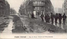 PARIS Inondé Rue De Rome Boulevard Haussemann - Paris Flood, 1910