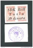 BOSNIA - BOSNIEN UND HERZEGOWINA,  10 Dinara ND(1992) UNC , SDK BIH -TUZLA , Rare War Time Emergency Note - Bosnie-Herzegovine