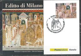 Italy. Scott # 3178 FDC Maxicard. 1700th. Anniv. Of The Edict Of Milan. Joint Issue With Vatican  2013 - Emissioni Congiunte