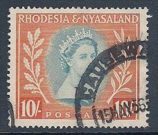 Rhodesia & Nyasaland ~ 1954-56 ~ 10s. QEII Defin. ~ SG 14 ~ Used - Rhodesia & Nyasaland (1954-1963)