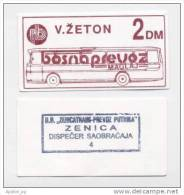 BOSNIA: 2 DM ND(1992) UNC *BOSNAPREVOZ - MAGLAJ *WAR TIME LOCAL NOTE / Brown - Bosnia And Herzegovina