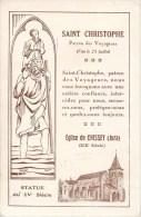 EGLISE DE CHISSEY SAINT-CHRISTOPHE PATRON DES VOYAGEURS + CACHET BENEDICTION DES AUTOMOBILES 1932 RELIGION 39 JURA - France