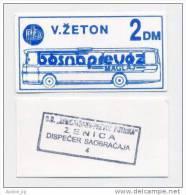 BOSNIA: 2 DM ND(1992) UNC *BOSNAPREVOZ - MAGLAJ*  War Time Local Note ! Blue Color - Bosnia And Herzegovina