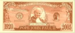 Vatican - Billet  fantaisie  Jean Paul II  - fictif - Neuf - Specimen -