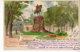Karlsruhe : Kaiserdenkmal ( Litho Kley ;Velten's Künstlerpostkarte N°29 ; 1906) - Karlsruhe