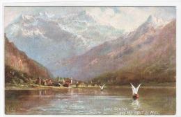 Lake Geneva & Dent Du Midi Switzerland 1910c Tuck Oilette Postcard - GE Ginevra