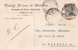 """FOSSALTA DI PIAVE  /  Cartolina Pubblicitaria  """" Fratelli FERRARI Di Antonio """"  Firma _ Viaggiata - Venezia"""