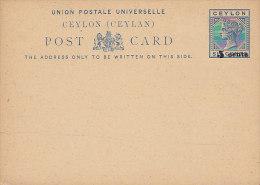 Ceylon Ceylan Postal Stationery Ganzsache Entier 6 Cents Queen Königin Victoria Overprinted 5 CENTS (2 Scans) - Ceylon (...-1947)