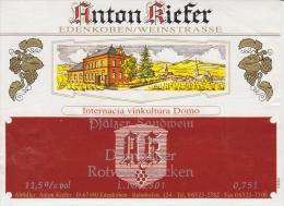 Sticker Red Wine Esperanto Germany Pfälzer Sandwein - Rugxa Vino Internacia Vinkultura Domo Esperanto - Rode Wijn