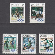 ZAIRE, 1984, Olympics, Olympic Games, St 5 V, Soccer, Riding, Athletics, Basketball, MNH, (**) - Estate 1984: Los Angeles