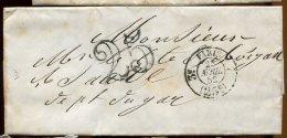 65920 O - LAC Sans TP Cad 3e PARIS 7 (25 C) Avril 1852 Avec Taxe Tampon 25 SUP - Postage Due Covers